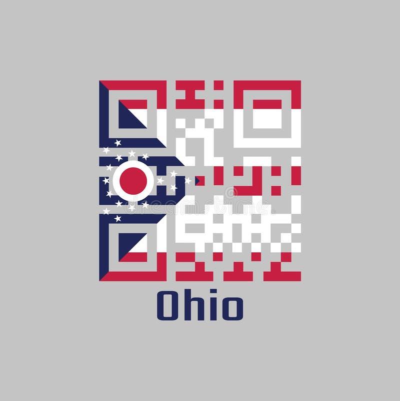 """Codes de QR la couleur du drapeau de l'Ohio 5 rayures horizontales en rouge et blanc azuré contenant un """"O """"et une étoile blancs  illustration libre de droits"""