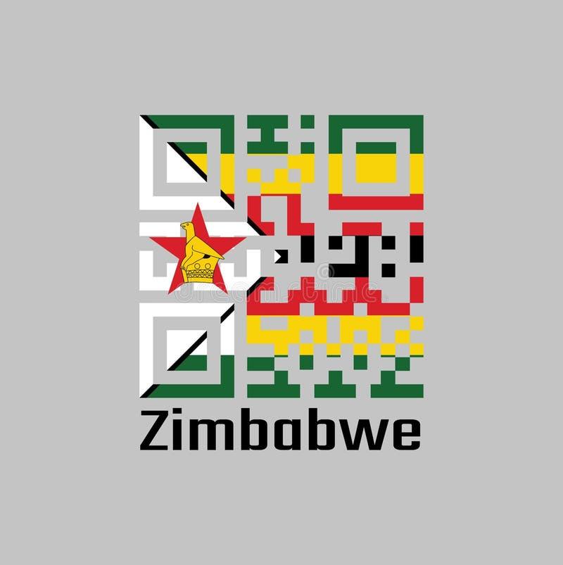Codes de QR la couleur du drapeau du Zimbabwe sept rayures horizontales de noir rouge jaune vert avec un blanc noir-bordé avec un illustration stock