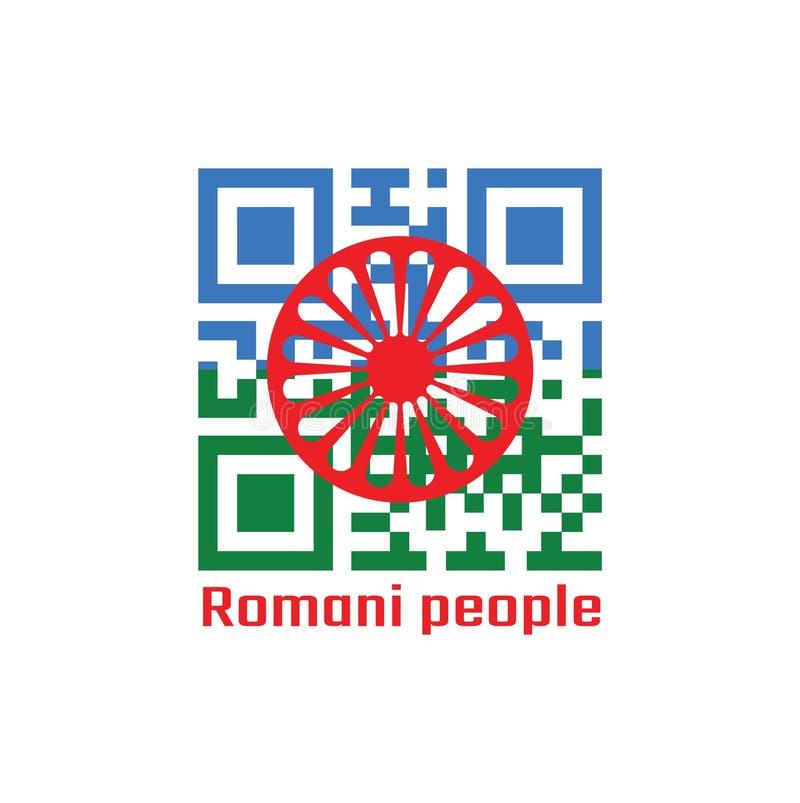 Codes de QR la couleur du fond de drapeau, bleu et vert Romani, représentant les cieux et la terre et le chakra ou la roue rouge  illustration de vecteur