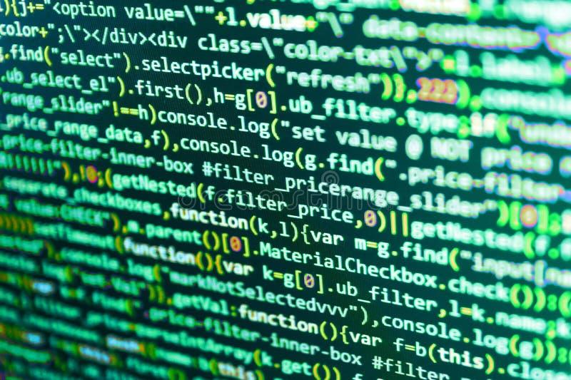 Codes de site Web sur le moniteur d'ordinateur Développement de logiciels images libres de droits
