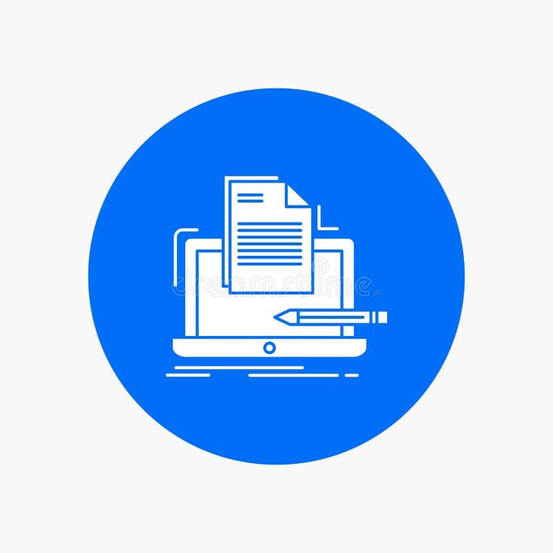 Codeur, codage, computer, lijst, document het Witte Pictogram van Glyph in Cirkel Vectorknoopillustratie vector illustratie