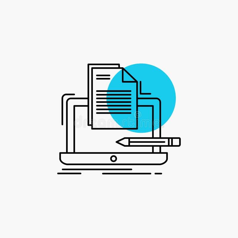 Codeur, codage, computer, lijst, document Lijnpictogram royalty-vrije illustratie
