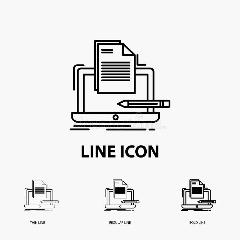 Codeur, codage, computer, lijst, document Pictogram in Dunne, Regelmatige en Gewaagde Lijnstijl Vector illustratie vector illustratie
