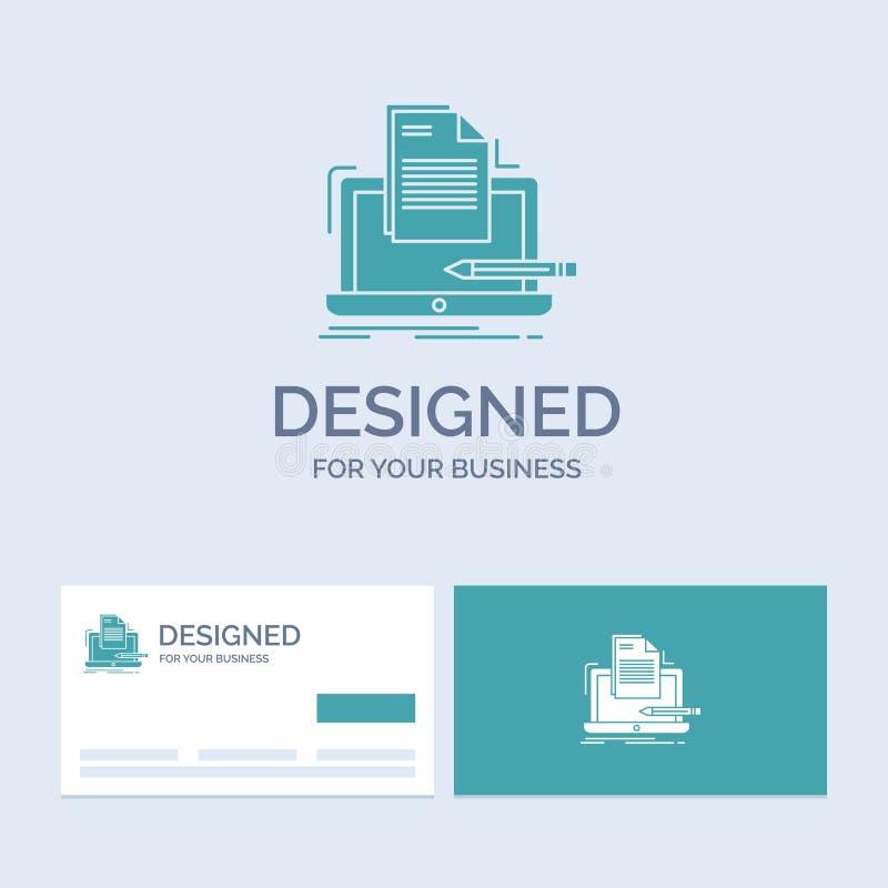Codeur, codage, computer, lijst, document Zaken Logo Glyph Icon Symbol voor uw zaken Turkooise Visitekaartjes met Merkembleem stock illustratie