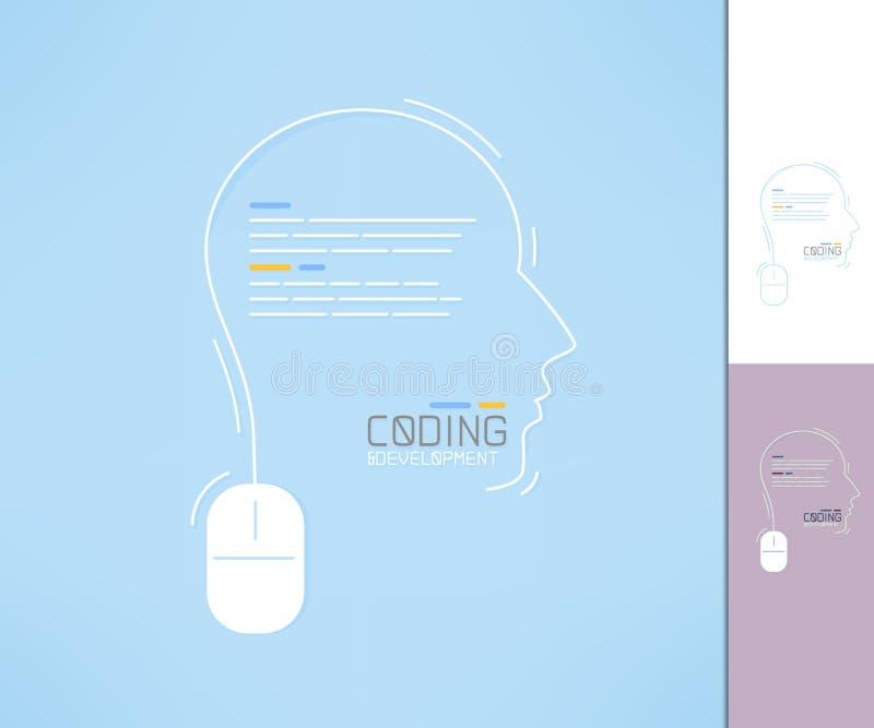 Codeur en ontwikkelaarprofiel Programmeurssilhouet Het concept van de codageontwikkeling vector illustratie
