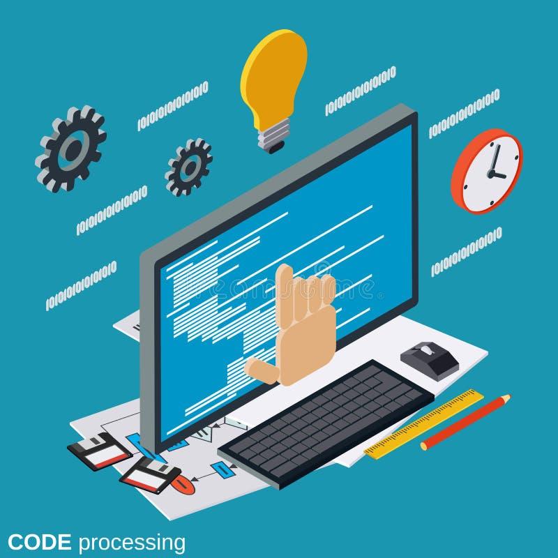 Codeverwerking, programmacodage, het vectorconcept van de algoritmeoptimalisering royalty-vrije illustratie