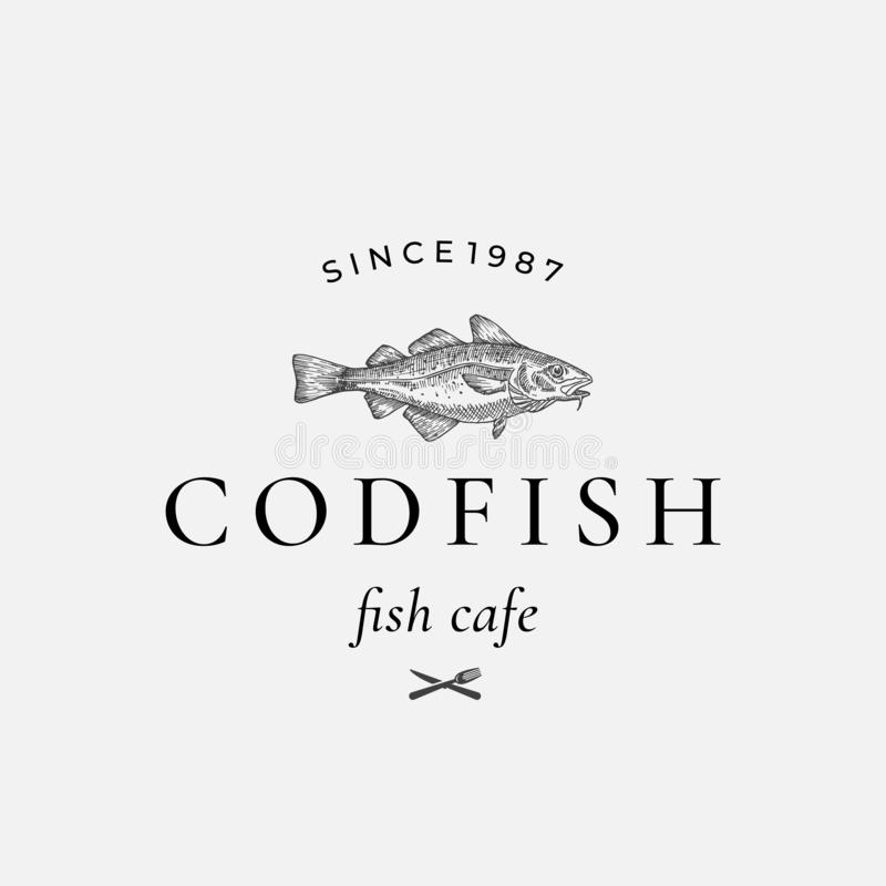 Codfish Abstract Vector Sign, Symbol or Logo Template. Hand Drawn Cod Fish with Classy Retro Typography. Fork and Knife. Icon. Vintage Vector Emblem. Isolated royalty free illustration