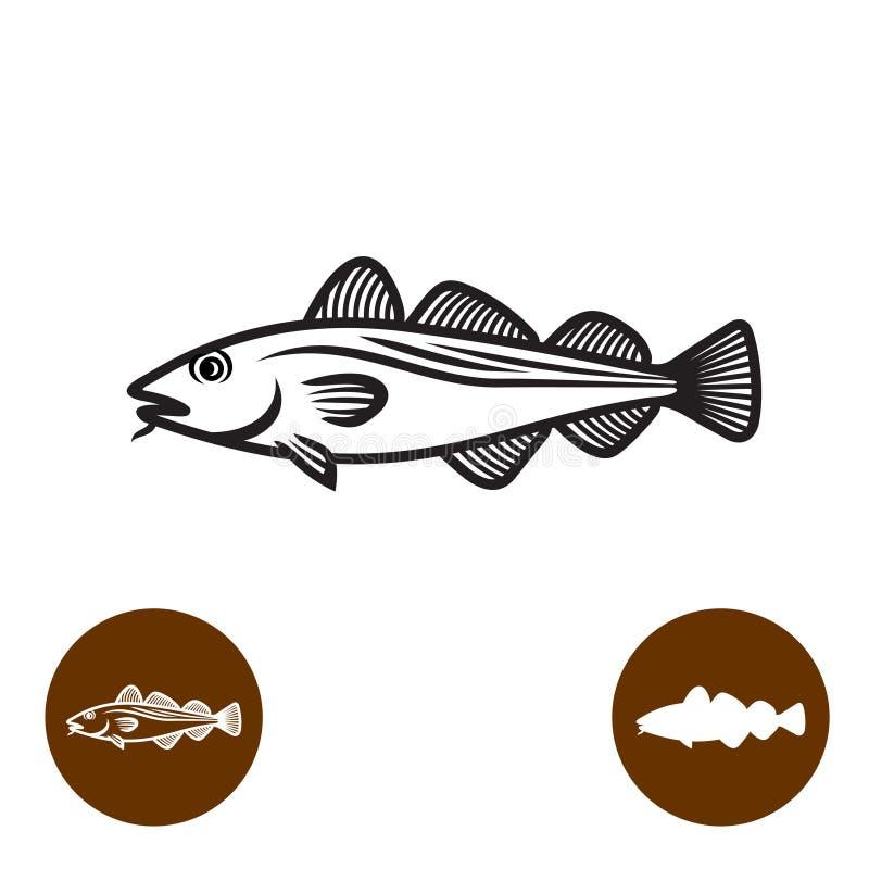 Codfishkonturlogo med variationer stock illustrationer