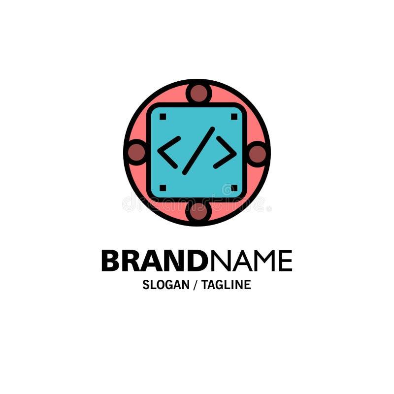 Codice, abitudine, implementazione, gestione, affare Logo Template del prodotto colore piano illustrazione di stock