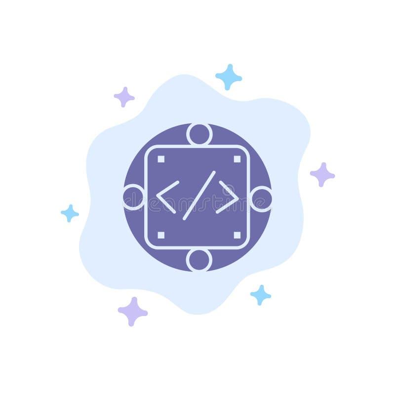 Codice, abitudine, implementazione, gestione, icona blu del prodotto sul fondo astratto della nuvola illustrazione vettoriale