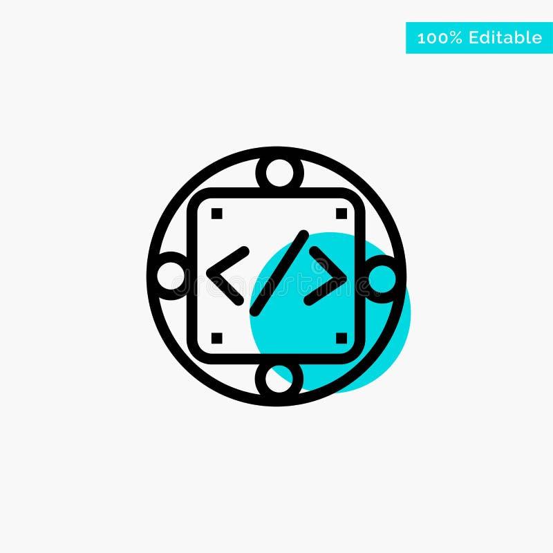 Codice, abitudine, implementazione, gestione, icona di vettore del punto del cerchio di punto culminante del turchese del prodott illustrazione vettoriale