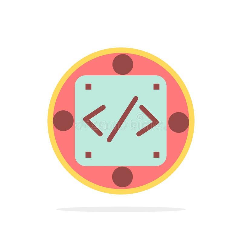 Codice, abitudine, implementazione, gestione, icona piana di colore del fondo del cerchio dell'estratto del prodotto royalty illustrazione gratis