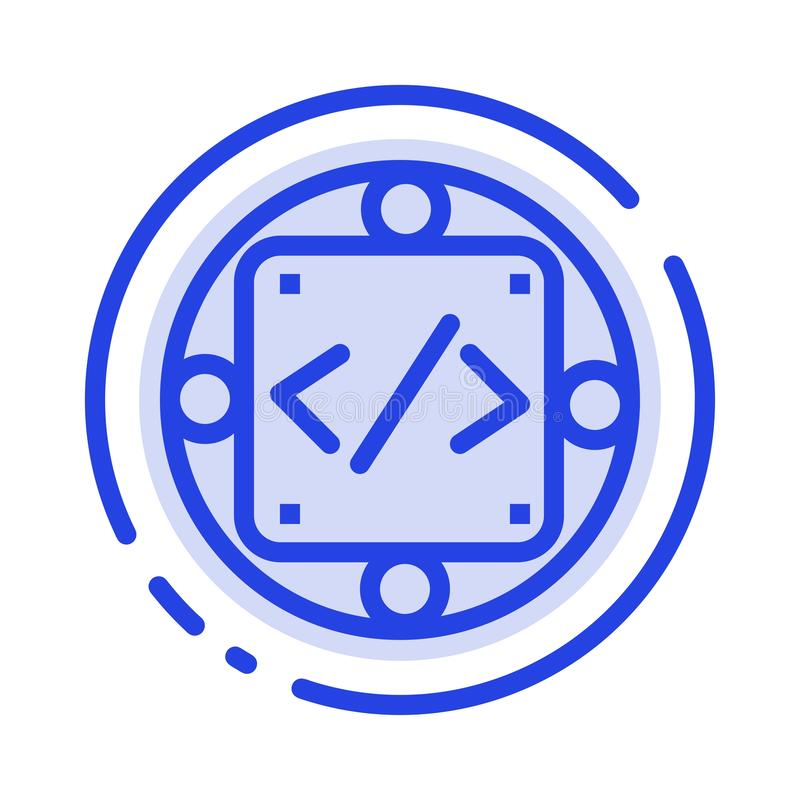 Codice, abitudine, implementazione, gestione, linea punteggiata blu linea icona del prodotto royalty illustrazione gratis