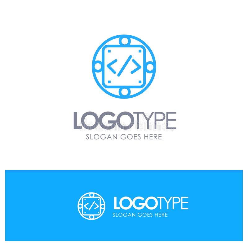 Codice, abitudine, implementazione, gestione, logo blu del profilo del prodotto con il posto per il tagline royalty illustrazione gratis
