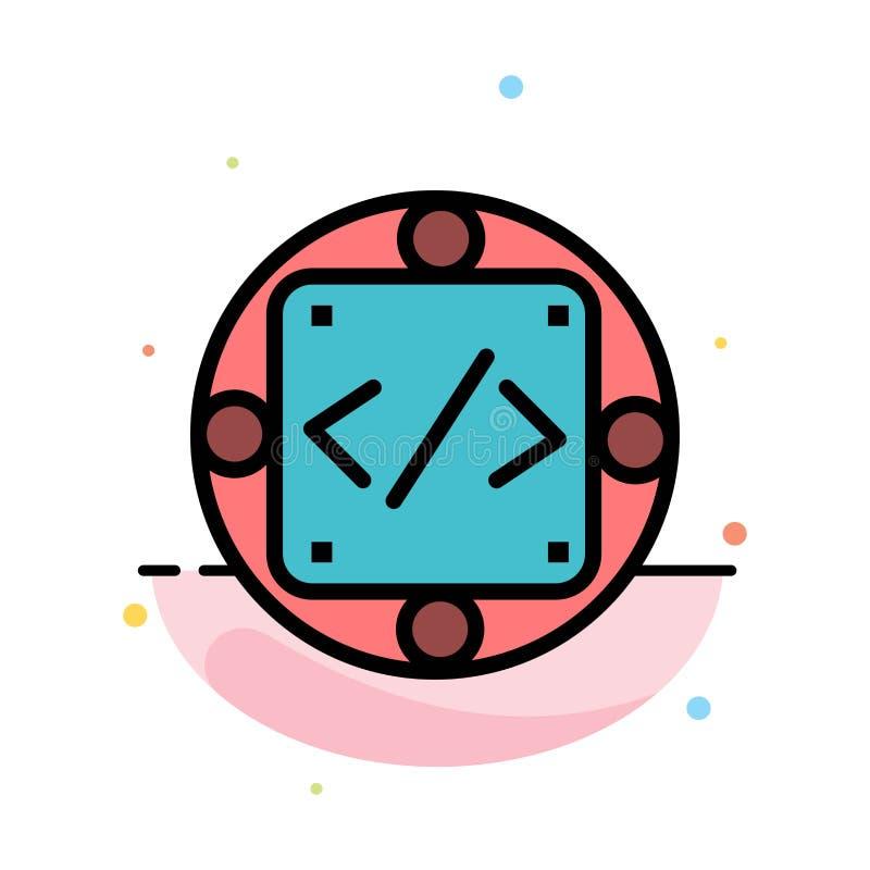Codice, abitudine, implementazione, gestione, modello piano dell'icona di colore dell'estratto del prodotto illustrazione di stock