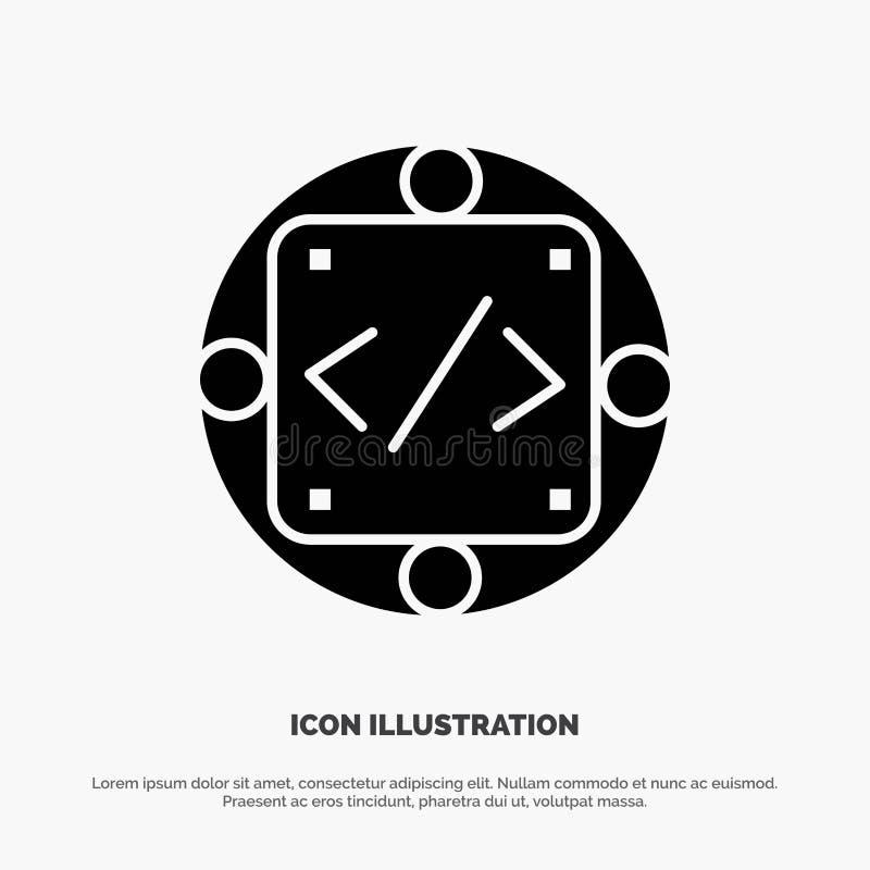 Codice, abitudine, implementazione, gestione, vettore solido dell'icona di glifo del prodotto royalty illustrazione gratis