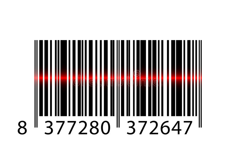 Codice a barre con il fascio laser illustrazione di stock