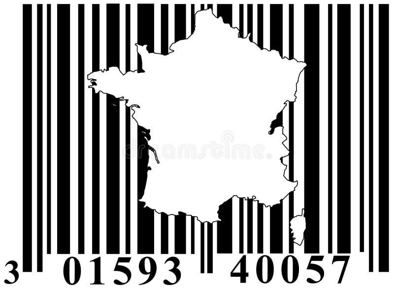Codice a barre con il profilo della Francia illustrazione di stock