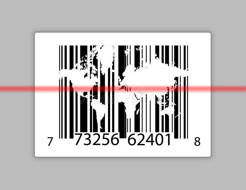 Codice a barre con il programma di mondo sopra gray royalty illustrazione gratis