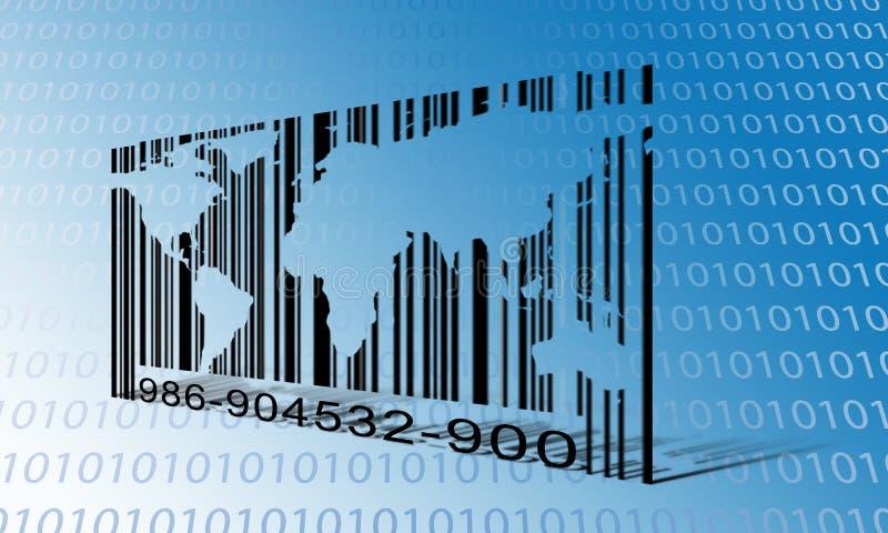 Codice a barre del file binario del mondo illustrazione vettoriale