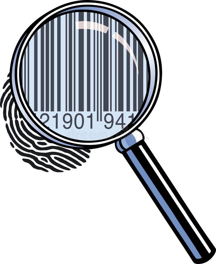 Codice a barre della lente d'ingrandimento illustrazione vettoriale