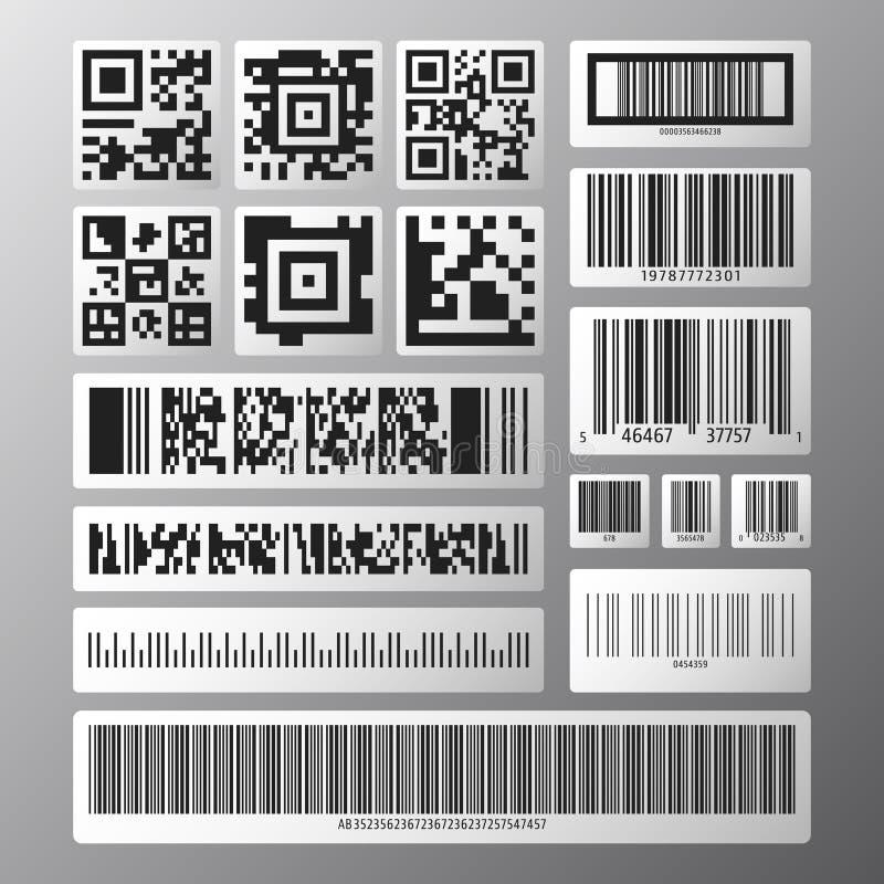 Codice a barre e serie di codici di ricerca royalty illustrazione gratis