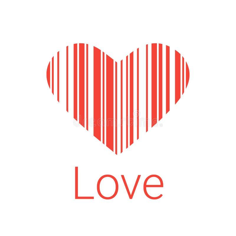 Codice a barre, icone ed elemento neri del cuore per i biglietti di S. Valentino illustrazione di stock