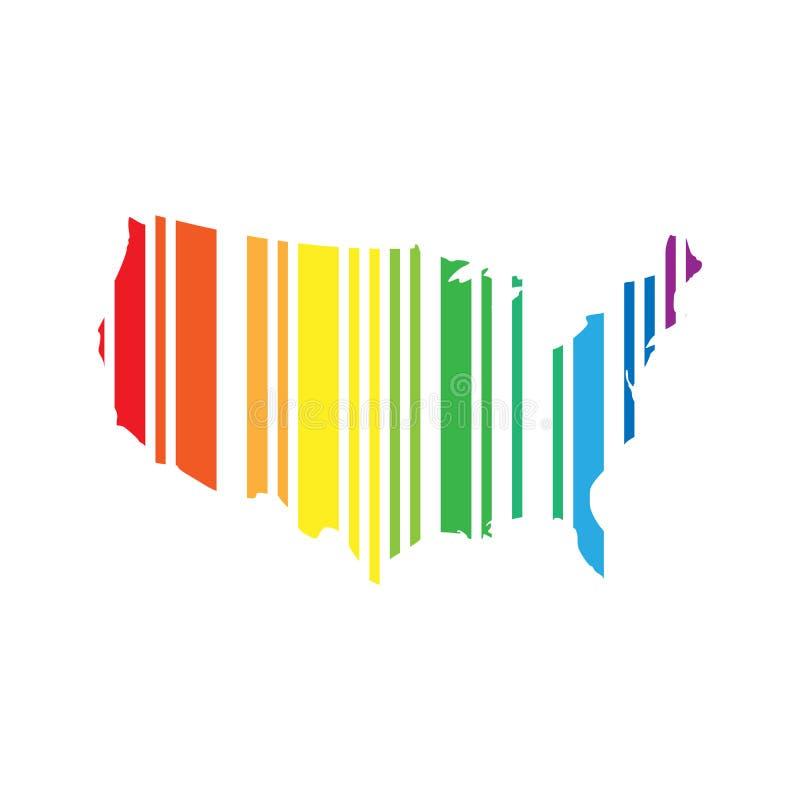 Codice a barre in una forma della mappa di U.S.A. Illustrazione di vettore nei colori di spettro dell'arcobaleno royalty illustrazione gratis