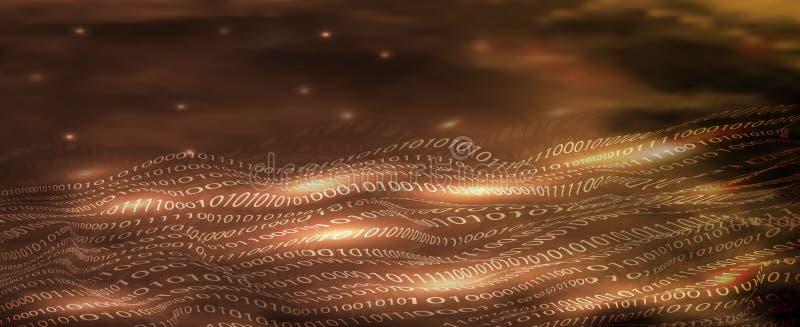 Codice binario astratto nello stile delle onde 3D nei toni dell'oro l'insegna tecnologica di concetto di progetto, webscreen, tec royalty illustrazione gratis