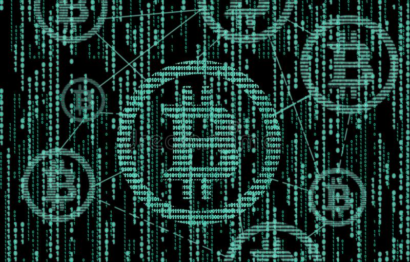Codice binario di Bitcoin La tecnologia della catena di blocco rappresentazione 3d royalty illustrazione gratis