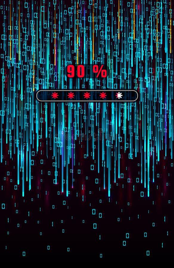 Codice binario di Digitahi Tiro della matrice Background Cifre blu di caduta sullo schermo con la barra di caricamento di dati Co illustrazione di stock