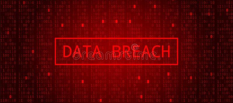 Codice binario di Digital sulla BG rosso scuro Frattura di dati illustrazione di stock