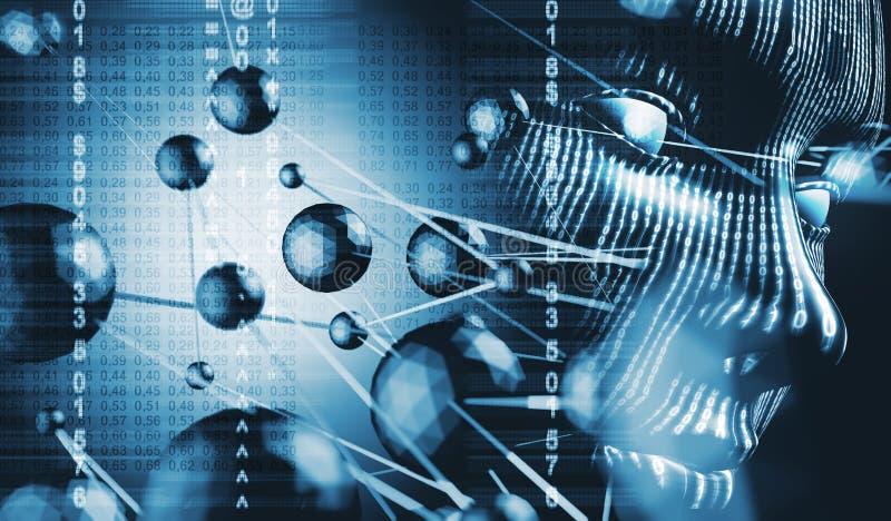Codice binario e concetto del Cyberspace illustrazione vettoriale