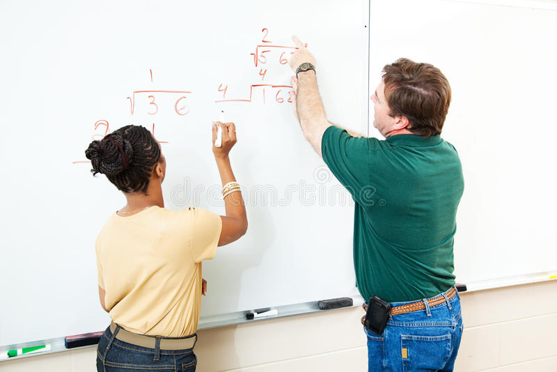 Codice categoria di per la matematica - allievo ed insegnante fotografie stock libere da diritti