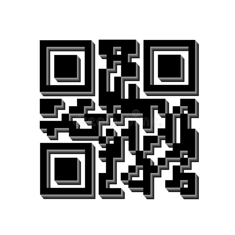codice di 3D QR per l'esplorazione, icona del codice a barre isolata Segno semplice moderno di codice a barre 3D Vendita, concett illustrazione vettoriale