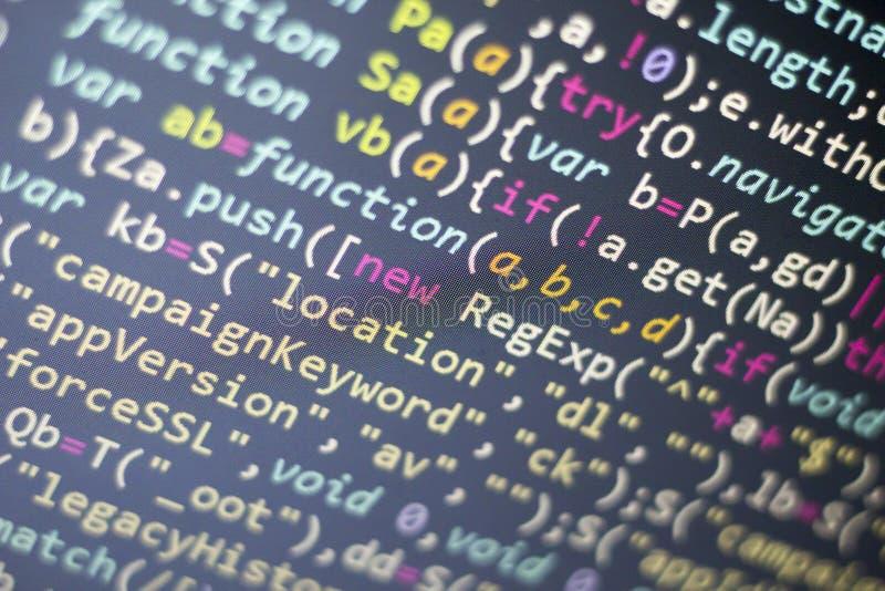 Codice di Javascript HTML5 di sviluppo Web Fondo moderno astratto di tecnologia dell'informazione Incisione della rete immagini stock libere da diritti