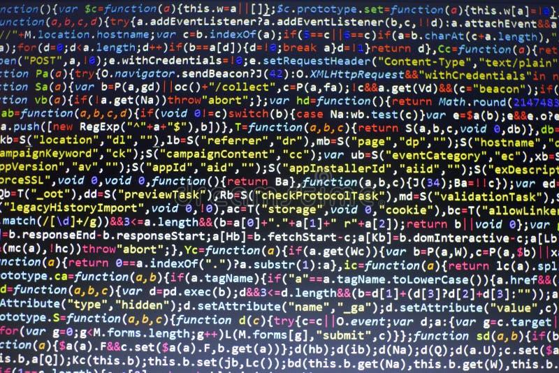 Codice di Javascript HTML5 di sviluppo Web Fondo moderno astratto di tecnologia dell'informazione Incisione della rete fotografia stock