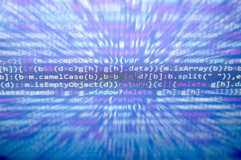 Codice di Javascript di Minificated Schermo dell'estratto di codice sorgente di programmazione di sviluppatore web Backgrou moder immagine stock libera da diritti