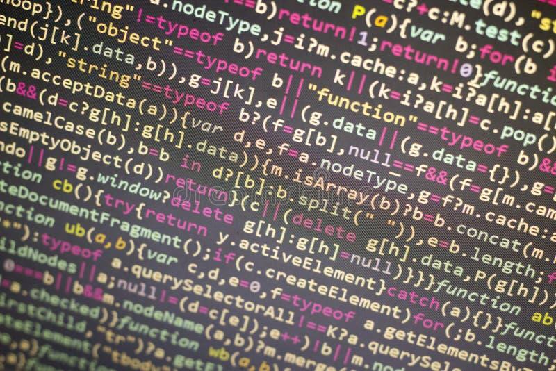 Codice di Javascript di Minificated Schermo dell'estratto di codice sorgente di programmazione di sviluppatore web Backgrou moder fotografia stock libera da diritti