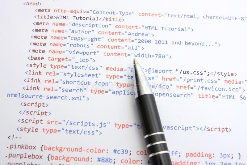 Codice di programmazione del HTML immagini stock