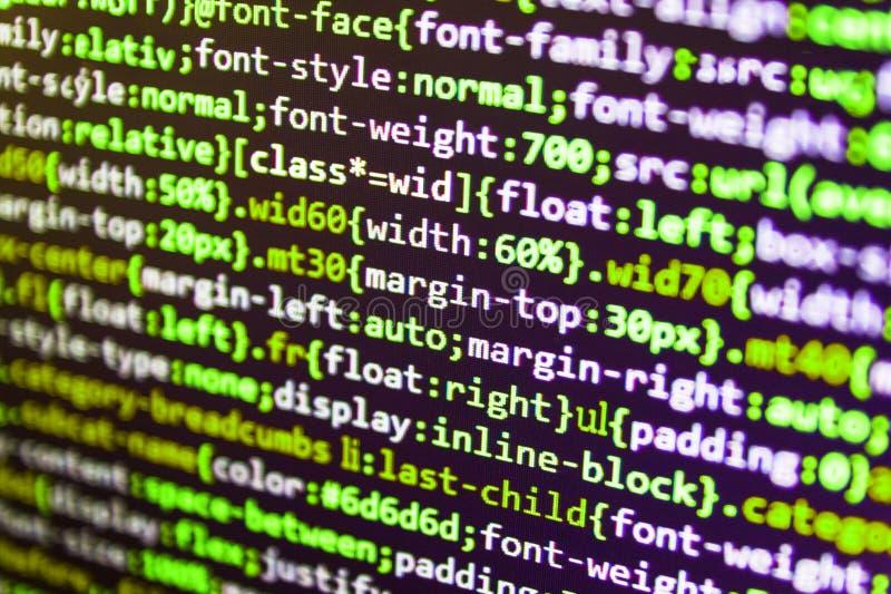 Codice di programmazione dello sviluppatore del pitone Primo piano del codice di Java Script, di CSS e del HTML immagine stock