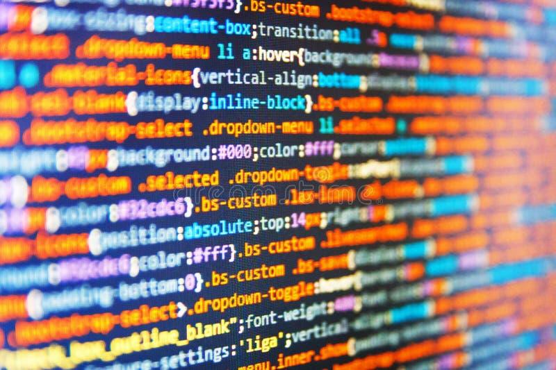 Codice di programmazione dello sviluppatore del pitone Programmazione del sito Web di Internet immagine stock