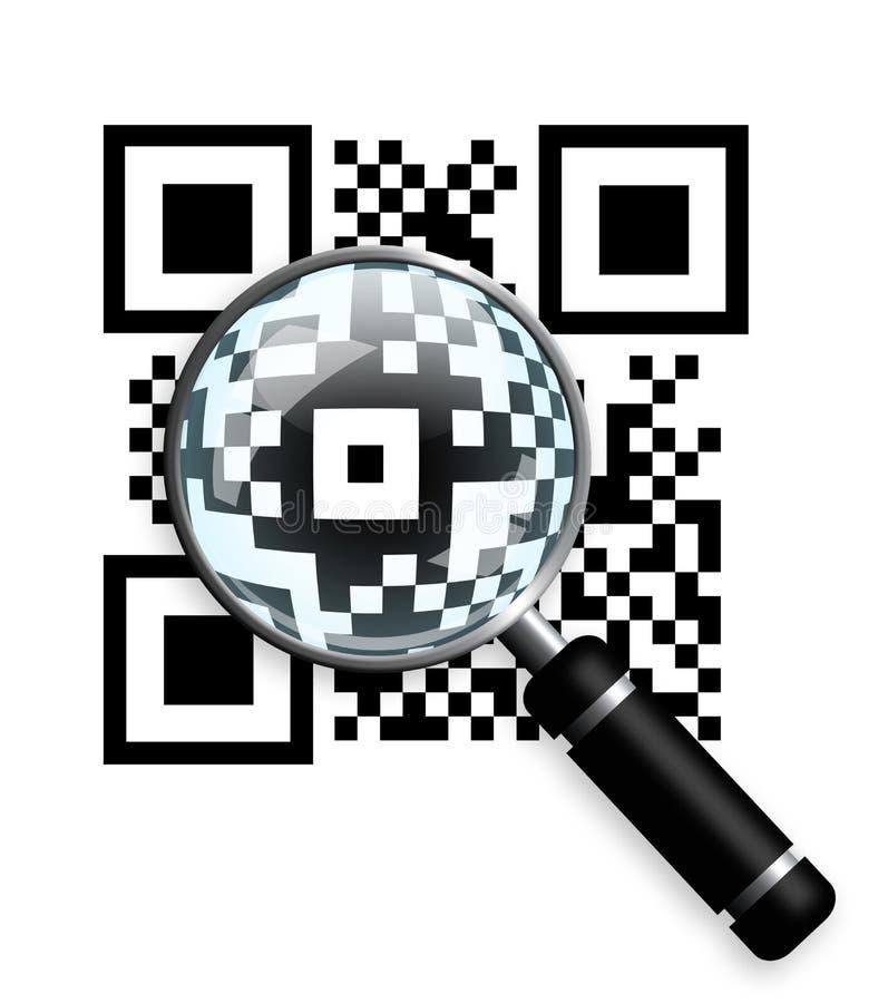 Codice di Qr con la lente d'ingrandimento isolata sopra bianco illustrazione di stock