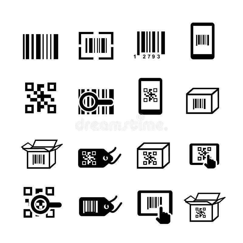 Codice di QR ed icone di codice a barre messe Codifica di ricerca, identificazione dell'autoadesivo royalty illustrazione gratis
