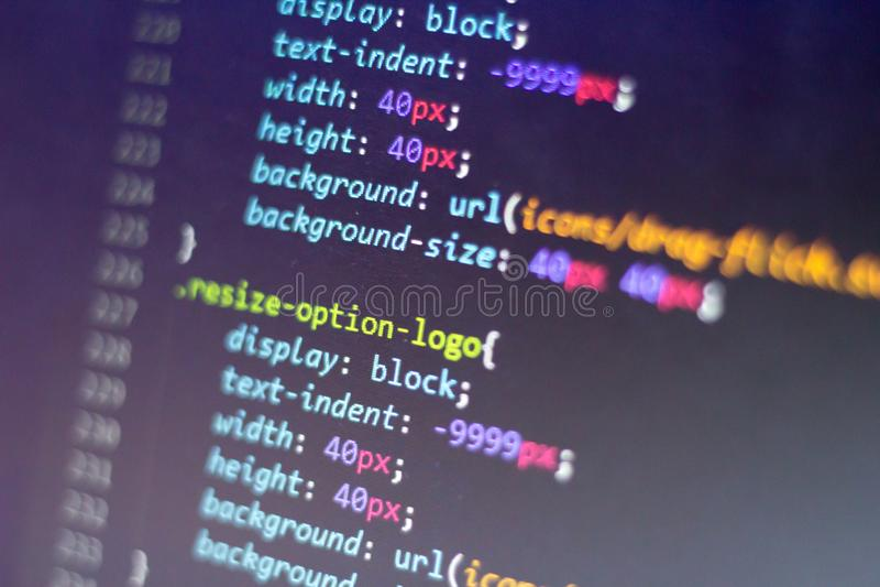 Codice di stile CSS Codice sorgente di programmazione Schermo astratto di sviluppatore web Fondo moderno di tecnologia digitale fotografia stock