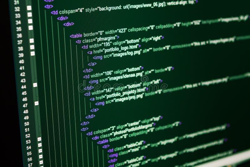 Codice di web del HTML fotografia stock