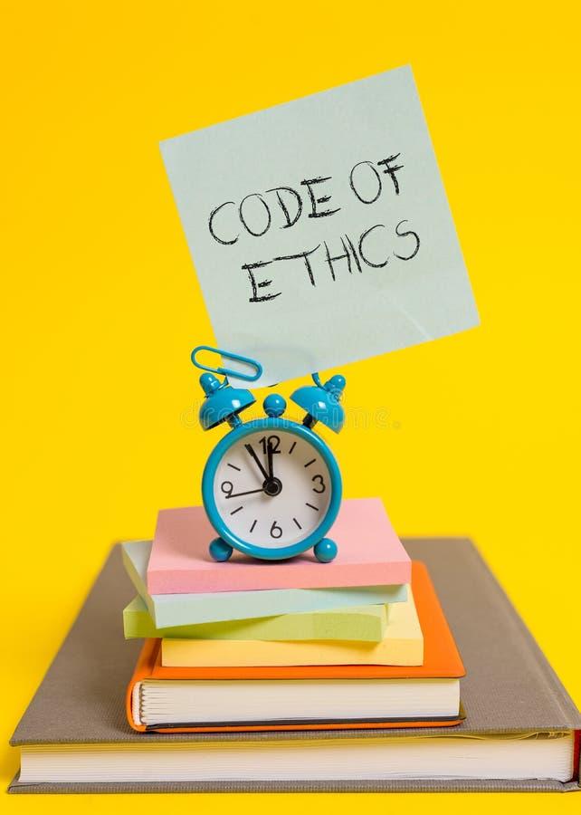 Codice etico di scrittura del testo della scrittura La guida di base di significato di concetto per comportamento professionale e fotografia stock libera da diritti