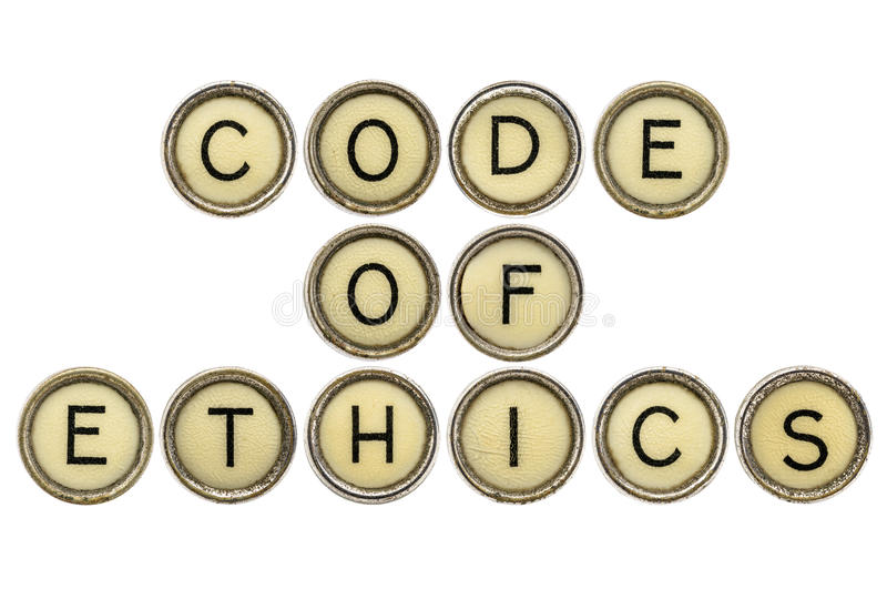 Codice etico nelle chiavi della macchina da scrivere fotografia stock