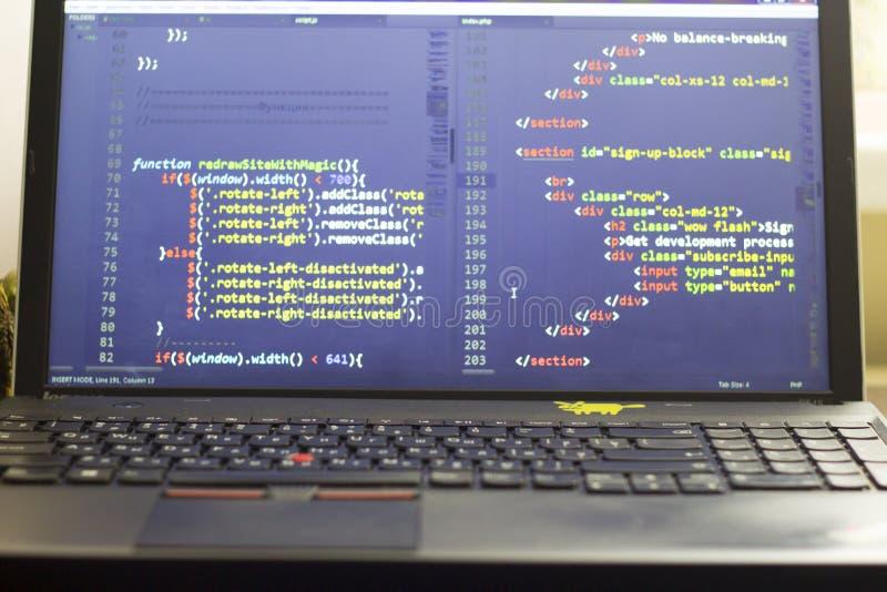 Codice a fine frontale del HTML e di Javascript Codice sorgente di programmazione fotografia stock libera da diritti