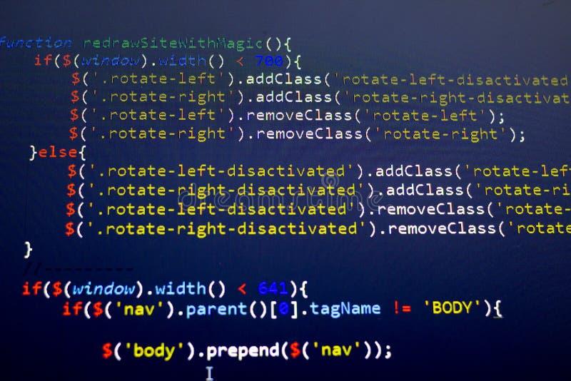 Codice a fine frontale di Javascript Codice sorgente di programmazione Schermo astratto di sviluppatore web fotografie stock